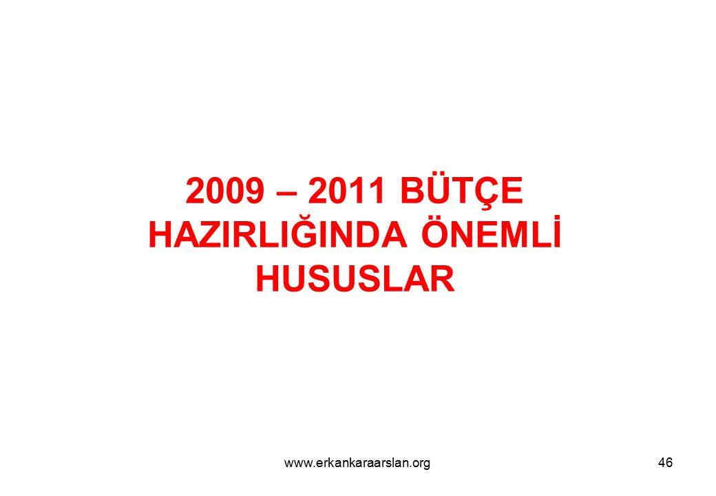 2009 – 2011 BÜTÇE HAZIRLIĞINDA ÖNEMLİ HUSUSLAR