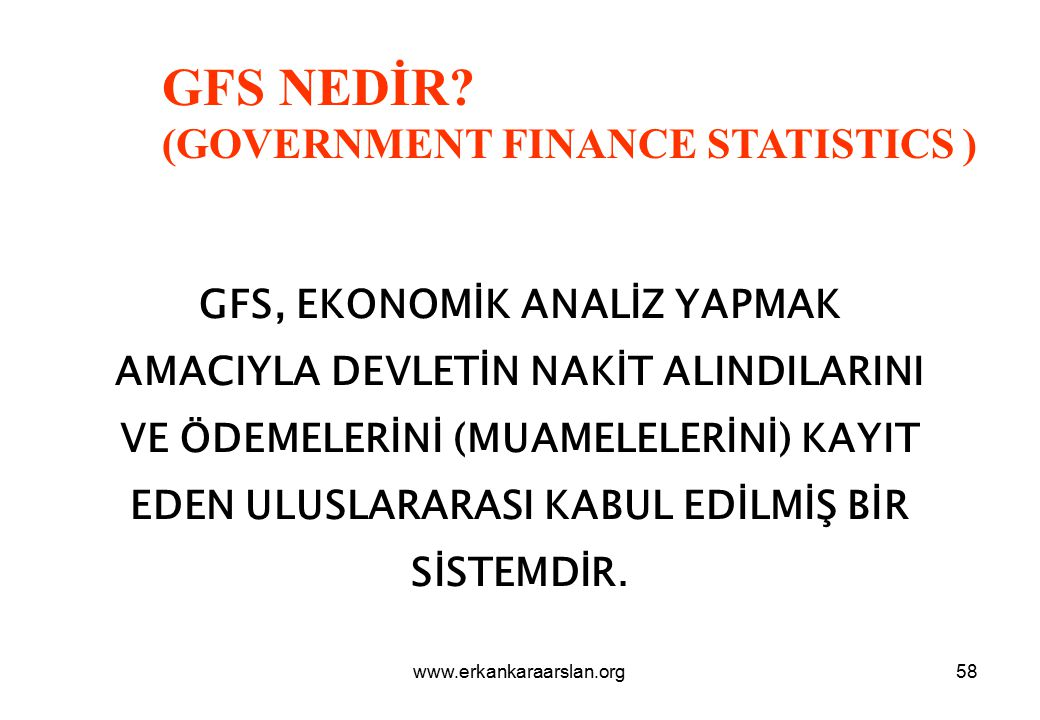 GFS NEDİR (GOVERNMENT FINANCE STATISTICS )