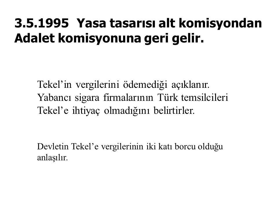 3.5.1995 Yasa tasarısı alt komisyondan Adalet komisyonuna geri gelir.