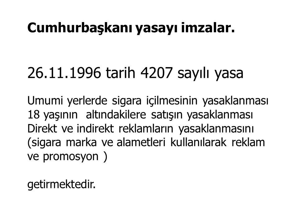 26.11.1996 tarih 4207 sayılı yasa Cumhurbaşkanı yasayı imzalar.