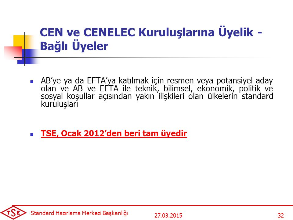 CEN ve CENELEC Kuruluşlarına Üyelik - Bağlı Üyeler
