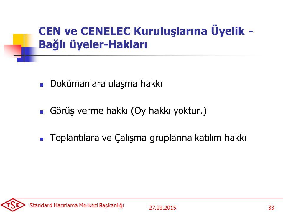 CEN ve CENELEC Kuruluşlarına Üyelik - Bağlı üyeler-Hakları