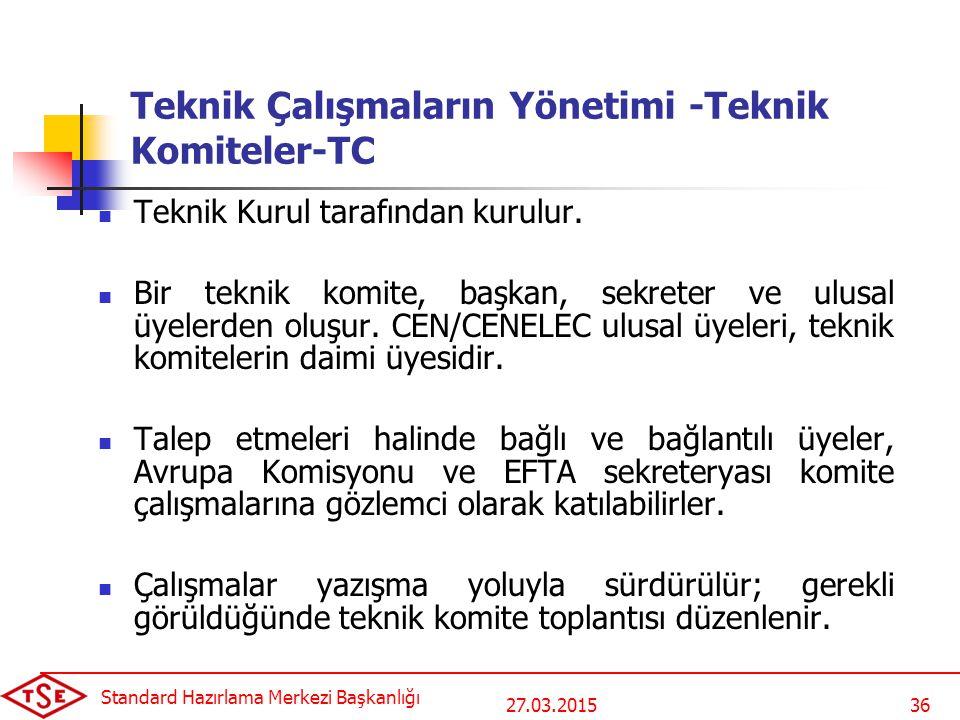 Teknik Çalışmaların Yönetimi -Teknik Komiteler-TC