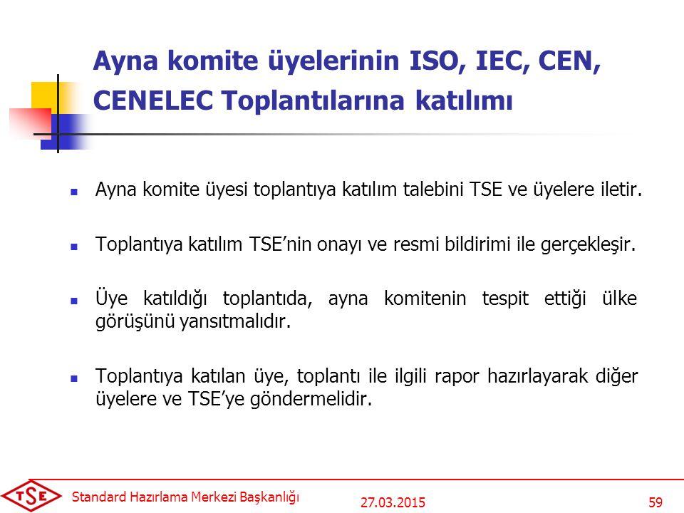 Ayna komite üyelerinin ISO, IEC, CEN, CENELEC Toplantılarına katılımı
