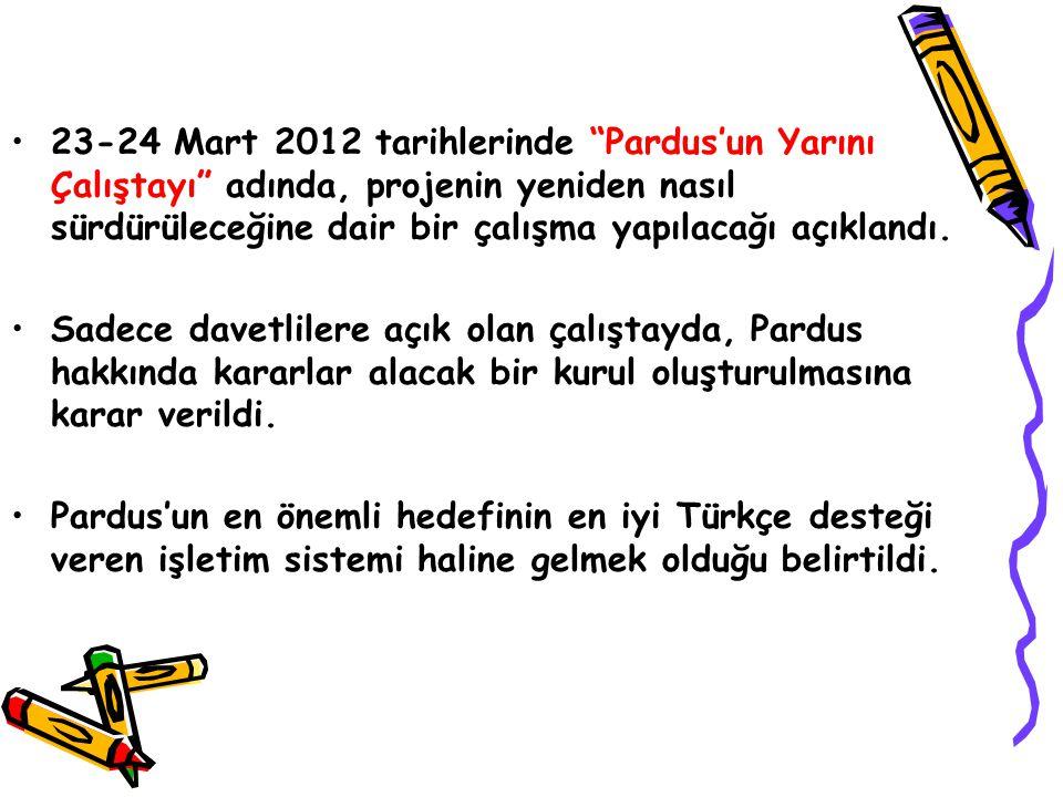 23-24 Mart 2012 tarihlerinde Pardus'un Yarını Çalıştayı adında, projenin yeniden nasıl sürdürüleceğine dair bir çalışma yapılacağı açıklandı.