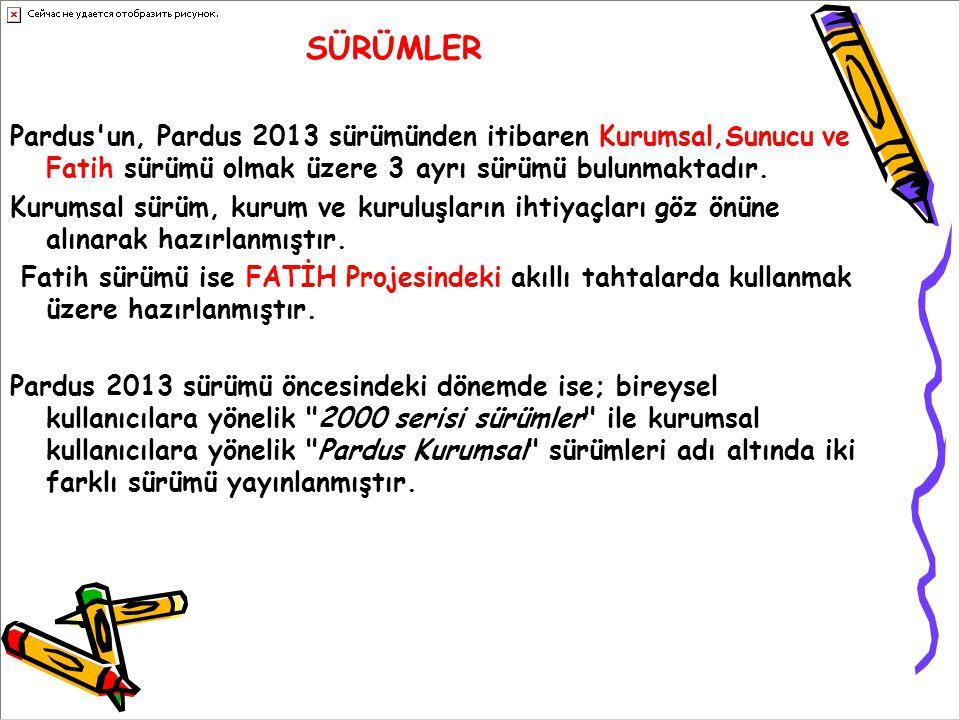 SÜRÜMLER Pardus un, Pardus 2013 sürümünden itibaren Kurumsal,Sunucu ve Fatih sürümü olmak üzere 3 ayrı sürümü bulunmaktadır.