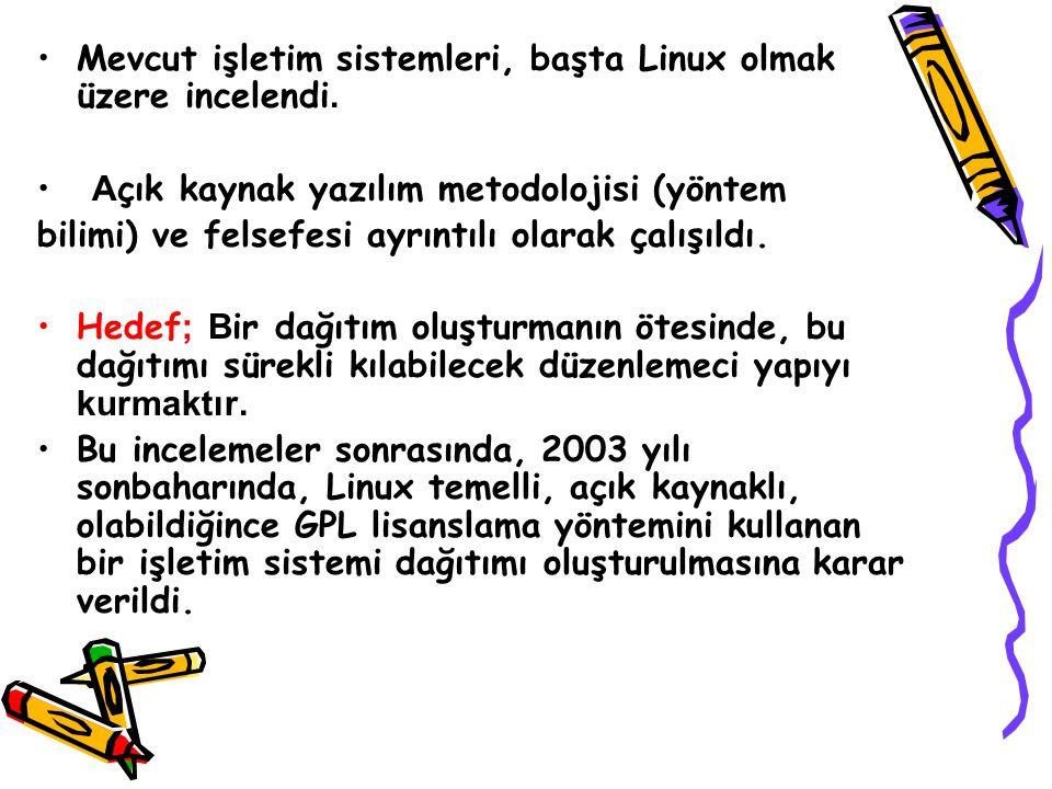 Mevcut işletim sistemleri, başta Linux olmak üzere incelendi.
