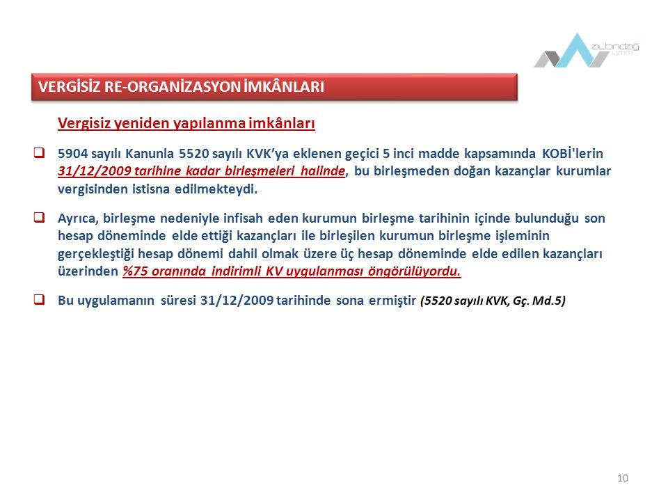 VERGİSİZ RE-ORGANİZASYON İMKÂNLARI