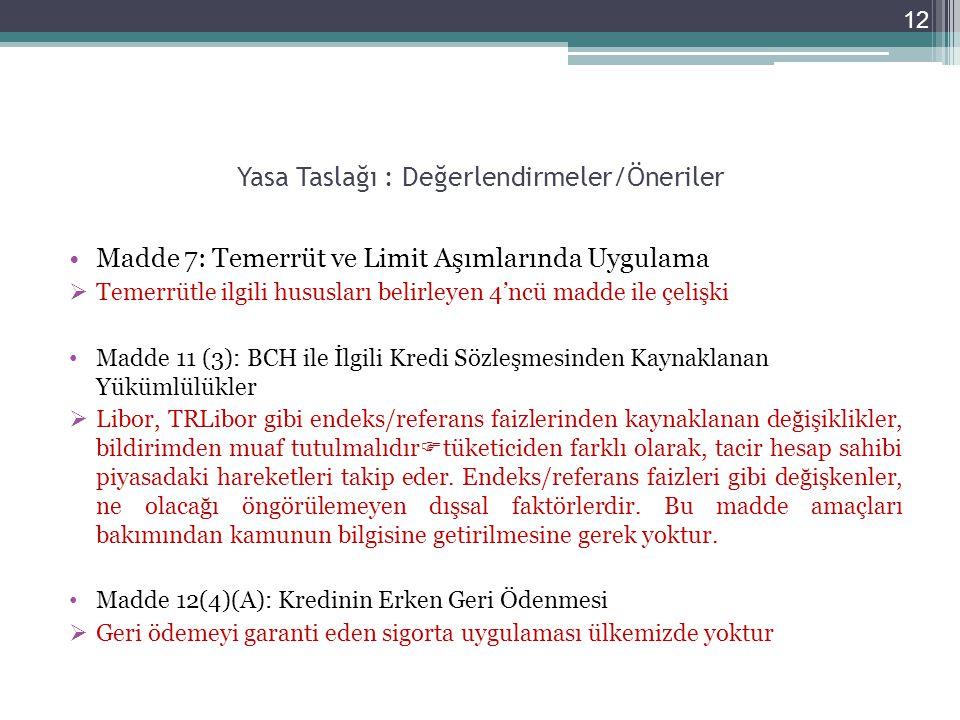 Yasa Taslağı : Değerlendirmeler/Öneriler