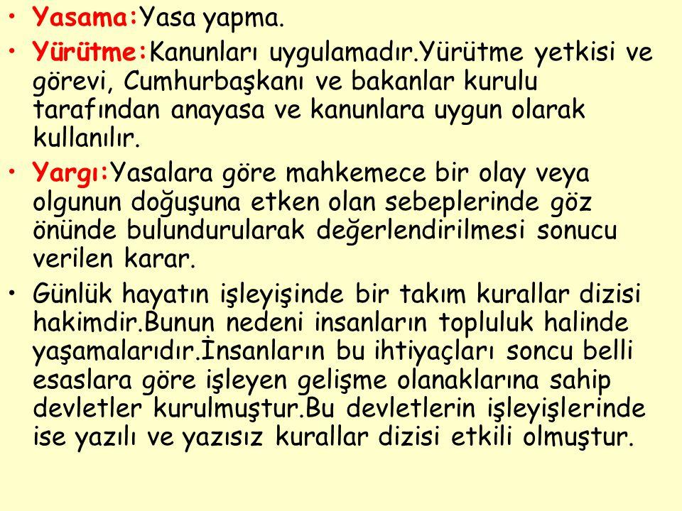 Yasama:Yasa yapma.