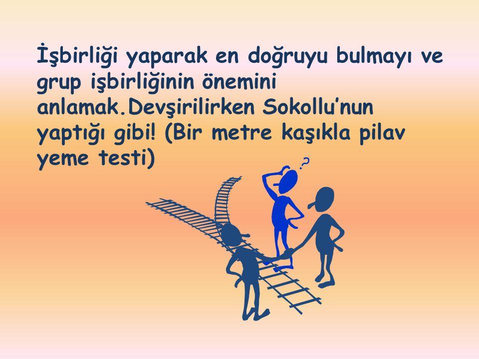İşbirliği yaparak en doğruyu bulmayı ve grup işbirliğinin önemini anlamak.Devşirilirken Sokollu'nun yaptığı gibi.