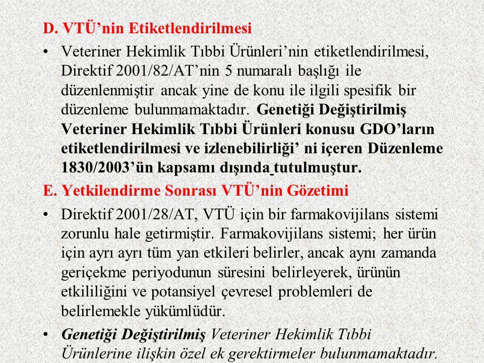 D. VTÜ'nin Etiketlendirilmesi