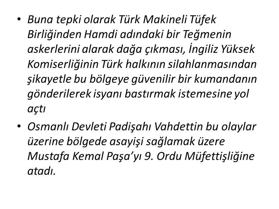 Buna tepki olarak Türk Makineli Tüfek Birliğinden Hamdi adındaki bir Teğmenin askerlerini alarak dağa çıkması, İngiliz Yüksek Komiserliğinin Türk halkının silahlanmasından şikayetle bu bölgeye güvenilir bir kumandanın gönderilerek isyanı bastırmak istemesine yol açtı