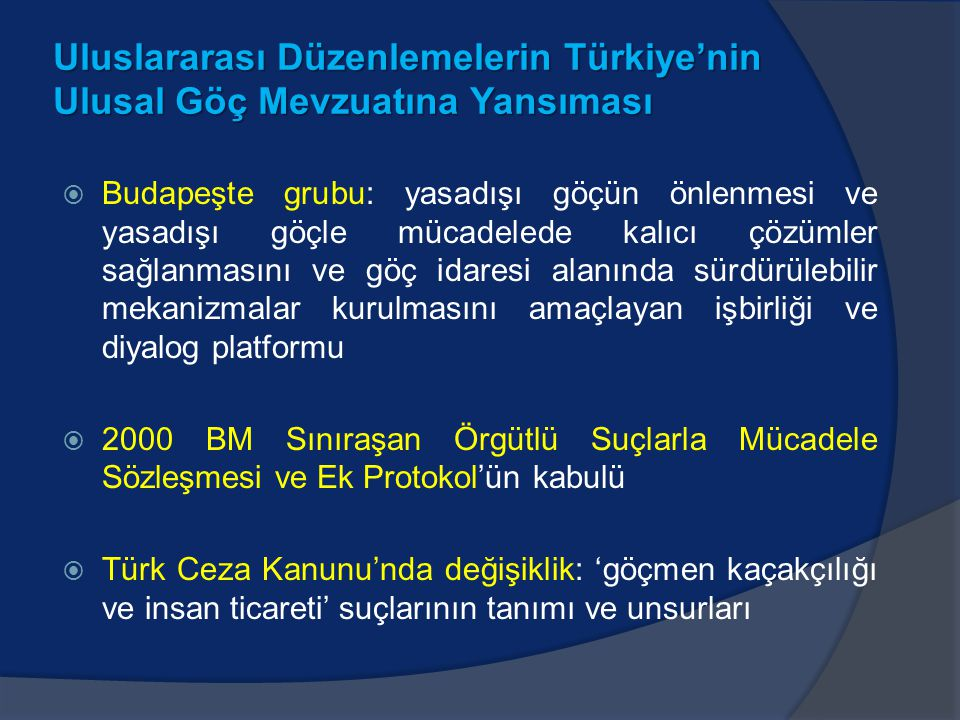 Uluslararası Düzenlemelerin Türkiye'nin Ulusal Göç Mevzuatına Yansıması