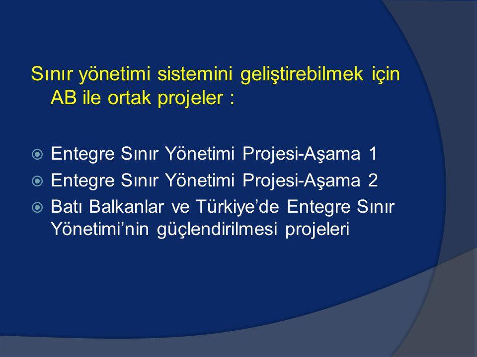Sınır yönetimi sistemini geliştirebilmek için AB ile ortak projeler :