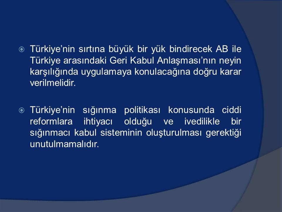 Türkiye'nin sırtına büyük bir yük bindirecek AB ile Türkiye arasındaki Geri Kabul Anlaşması'nın neyin karşılığında uygulamaya konulacağına doğru karar verilmelidir.