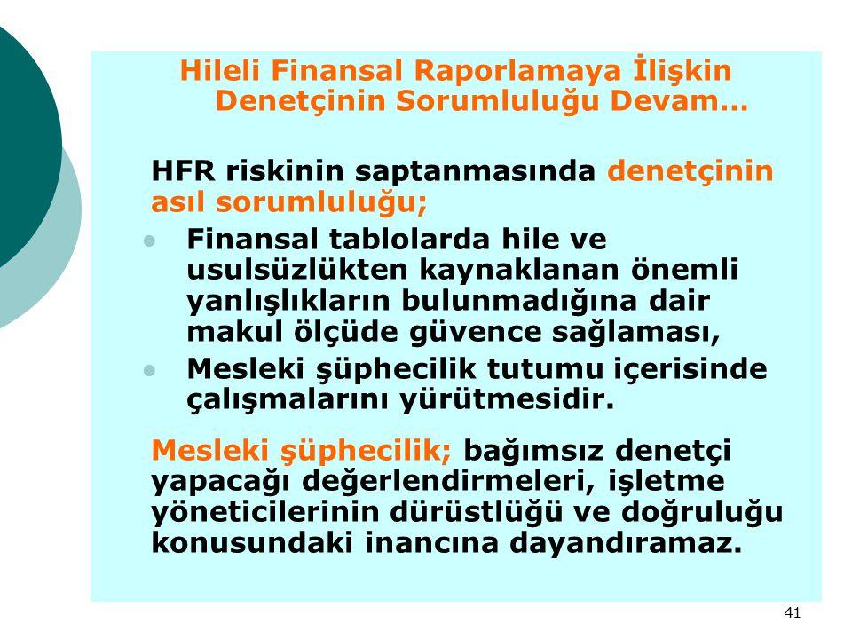 Hileli Finansal Raporlamaya İlişkin Denetçinin Sorumluluğu Devam…