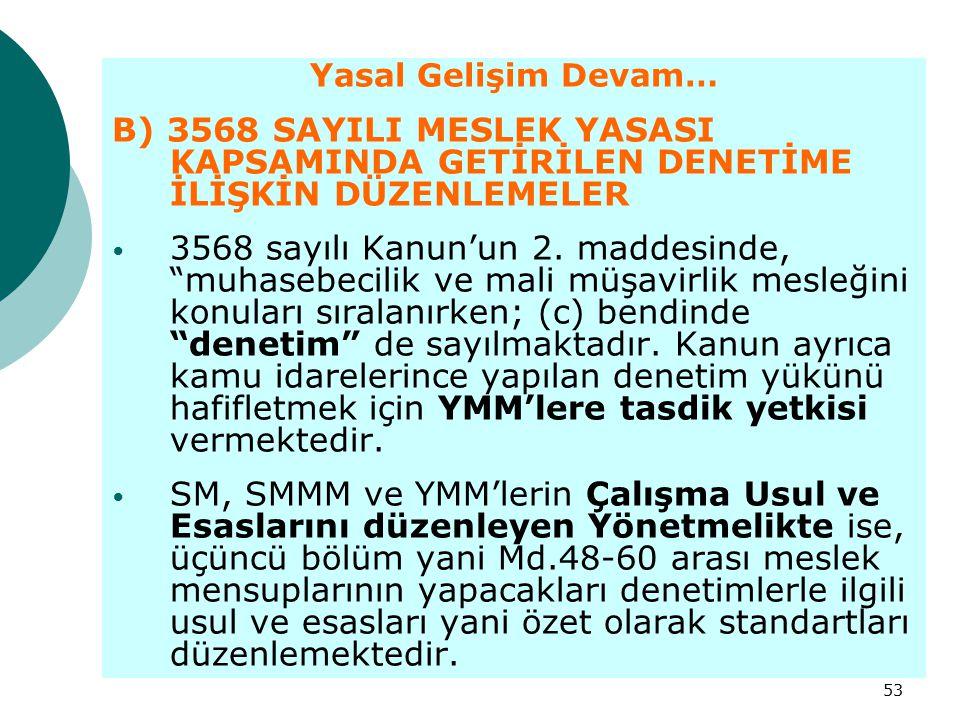 Yasal Gelişim Devam… B) 3568 SAYILI MESLEK YASASI KAPSAMINDA GETİRİLEN DENETİME İLİŞKİN DÜZENLEMELER.
