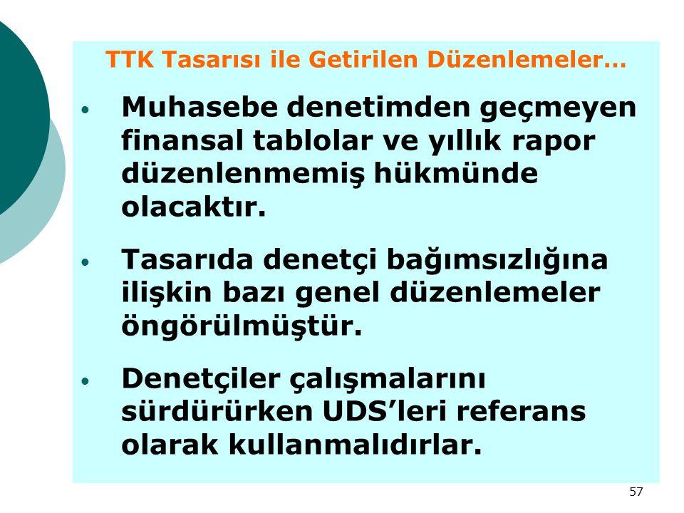 TTK Tasarısı ile Getirilen Düzenlemeler…