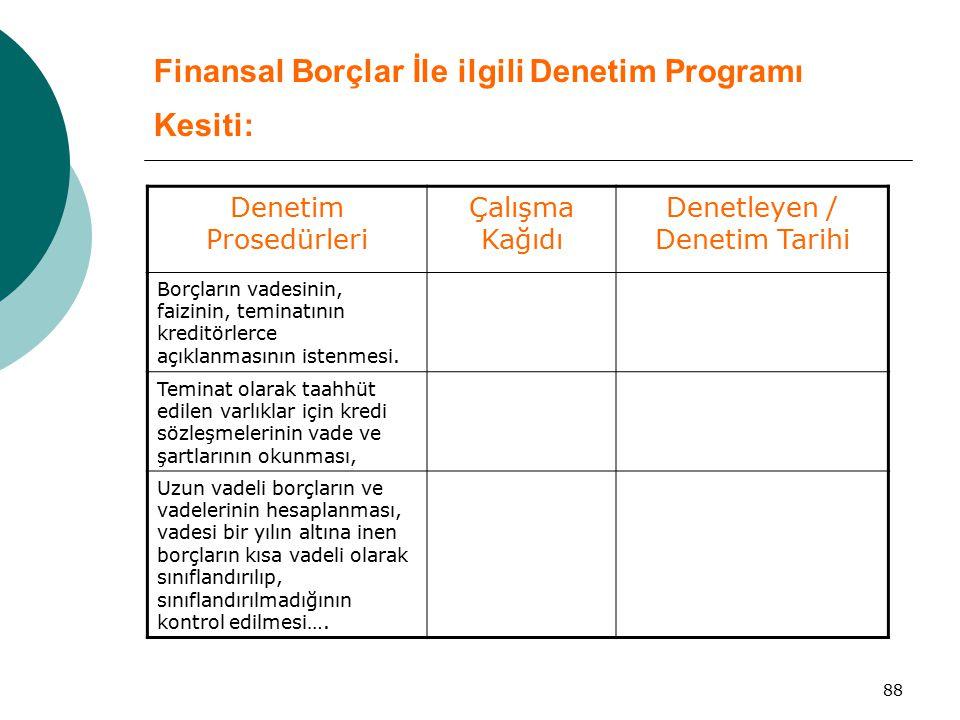 Finansal Borçlar İle ilgili Denetim Programı Kesiti: