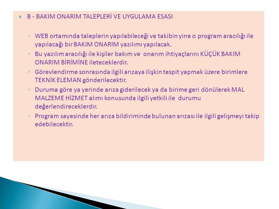 B - BAKIM ONARIM TALEPLERİ VE UYGULAMA ESASI