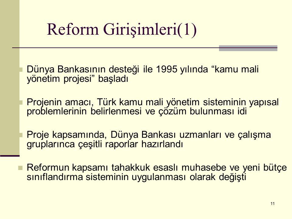 Reform Girişimleri(1) Dünya Bankasının desteği ile 1995 yılında kamu mali yönetim projesi başladı.