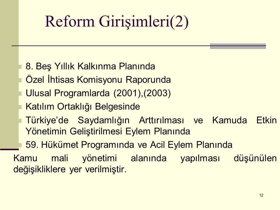 Reform Girişimleri(2) 8. Beş Yıllık Kalkınma Planında