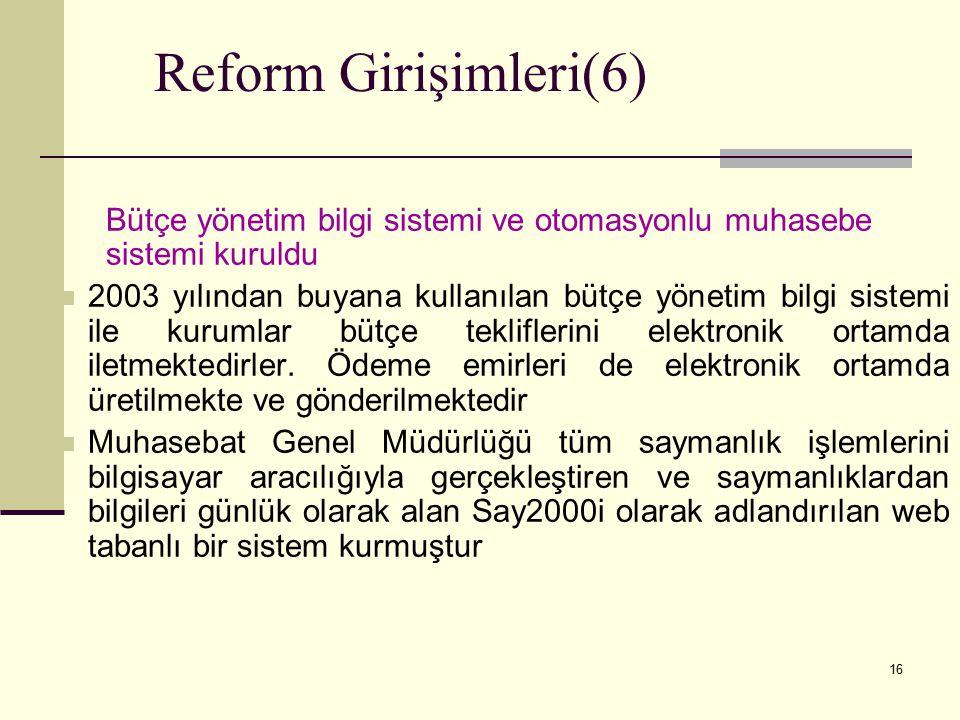 Reform Girişimleri(6) Bütçe yönetim bilgi sistemi ve otomasyonlu muhasebe sistemi kuruldu.