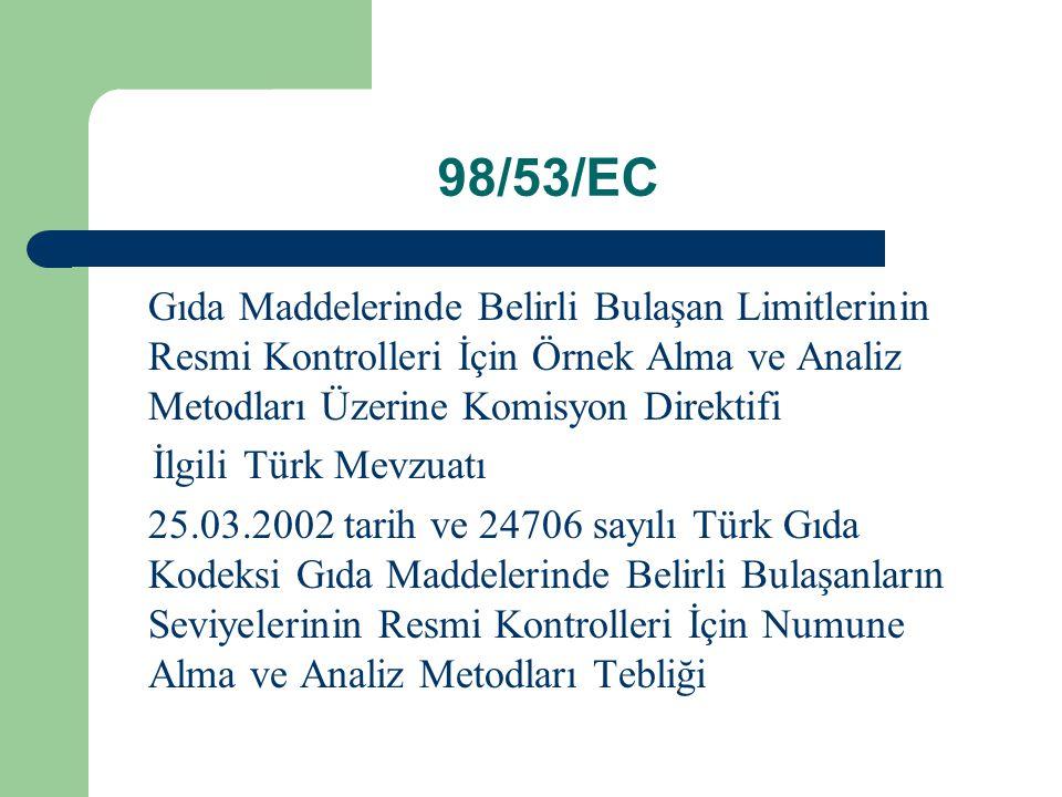 98/53/EC Gıda Maddelerinde Belirli Bulaşan Limitlerinin Resmi Kontrolleri İçin Örnek Alma ve Analiz Metodları Üzerine Komisyon Direktifi.