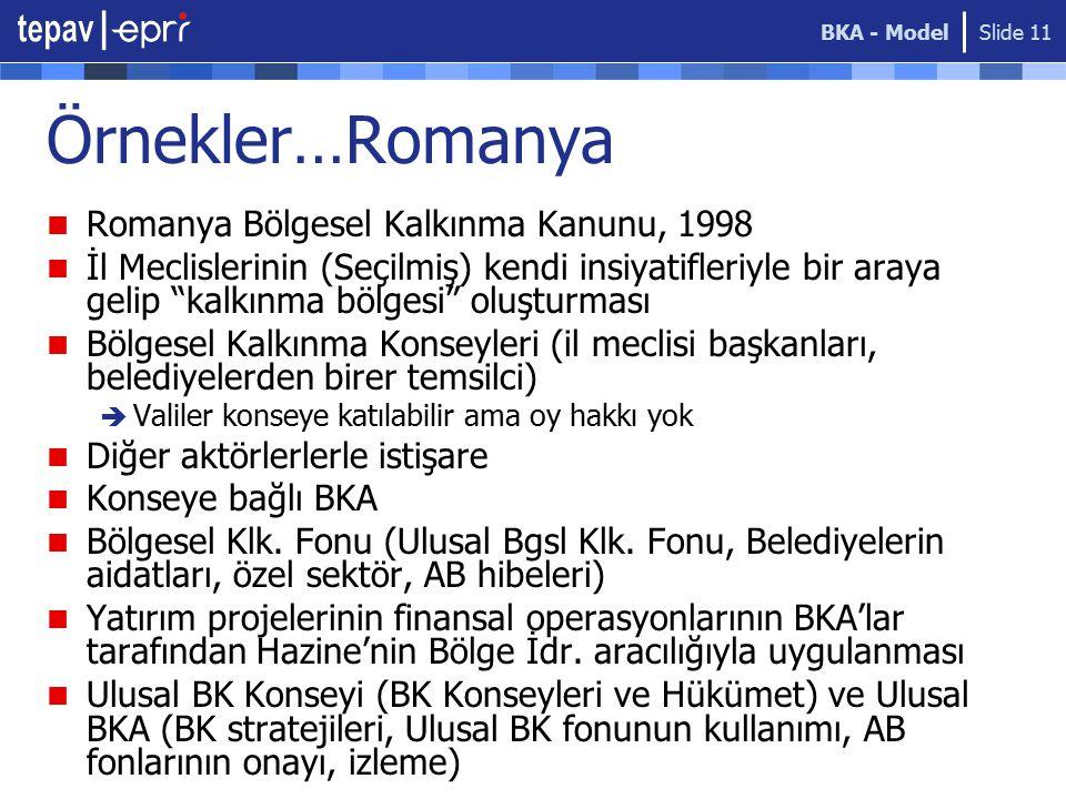 Örnekler…Romanya Romanya Bölgesel Kalkınma Kanunu, 1998
