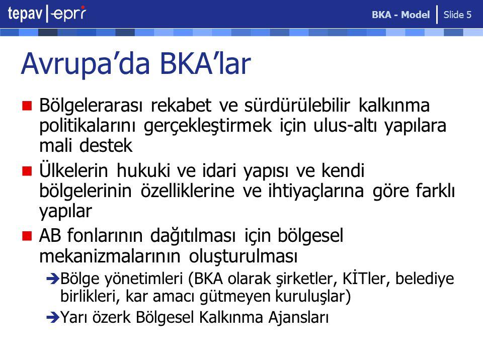 BKA - Model Avrupa'da BKA'lar. Bölgelerarası rekabet ve sürdürülebilir kalkınma politikalarını gerçekleştirmek için ulus-altı yapılara mali destek.