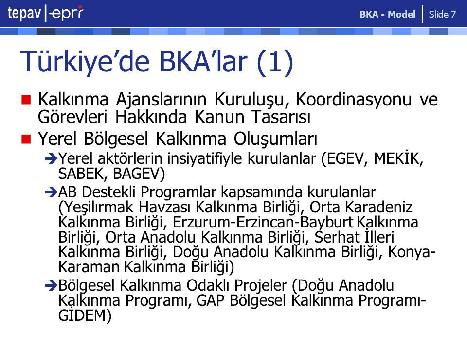 BKA - Model Türkiye'de BKA'lar (1) Kalkınma Ajanslarının Kuruluşu, Koordinasyonu ve Görevleri Hakkında Kanun Tasarısı.
