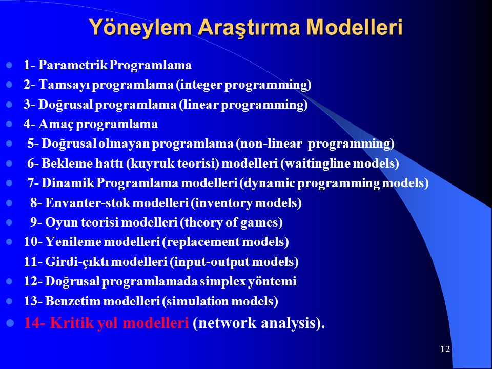 Yöneylem Araştırma Modelleri
