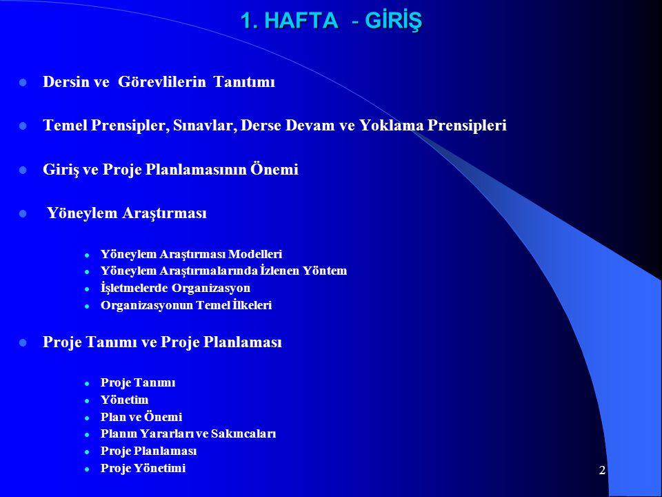 1. HAFTA - GİRİŞ Dersin ve Görevlilerin Tanıtımı