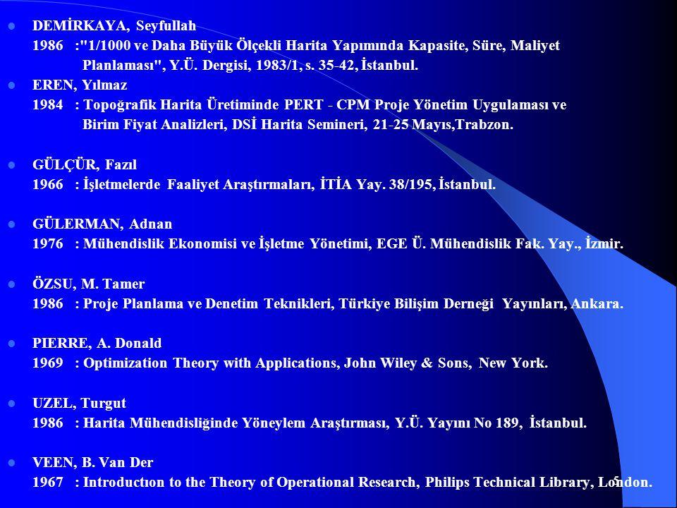 DEMİRKAYA, Seyfullah 1986 : 1/1000 ve Daha Büyük Ölçekli Harita Yapımında Kapasite, Süre, Maliyet.