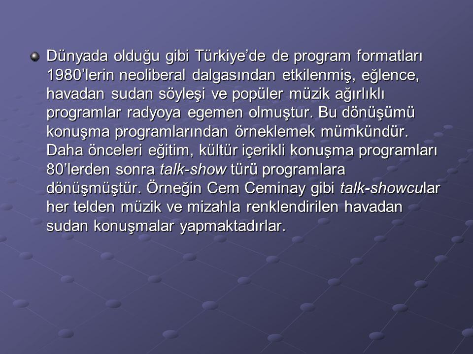 Dünyada olduğu gibi Türkiye'de de program formatları 1980'lerin neoliberal dalgasından etkilenmiş, eğlence, havadan sudan söyleşi ve popüler müzik ağırlıklı programlar radyoya egemen olmuştur.