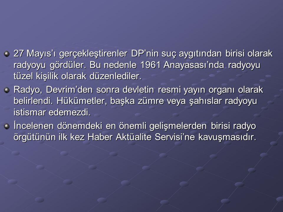 27 Mayıs'ı gerçekleştirenler DP'nin suç aygıtından birisi olarak radyoyu gördüler. Bu nedenle 1961 Anayasası'nda radyoyu tüzel kişilik olarak düzenlediler.