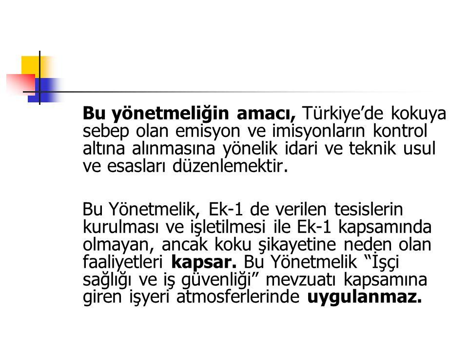 Bu yönetmeliğin amacı, Türkiye'de kokuya sebep olan emisyon ve imisyonların kontrol altına alınmasına yönelik idari ve teknik usul ve esasları düzenlemektir.
