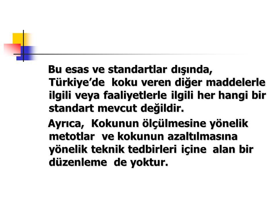 Bu esas ve standartlar dışında, Türkiye'de koku veren diğer maddelerle ilgili veya faaliyetlerle ilgili her hangi bir standart mevcut değildir.