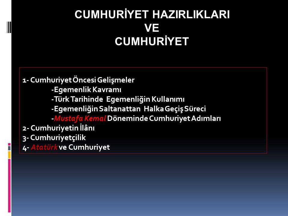 CUMHURİYET HAZIRLIKLARI