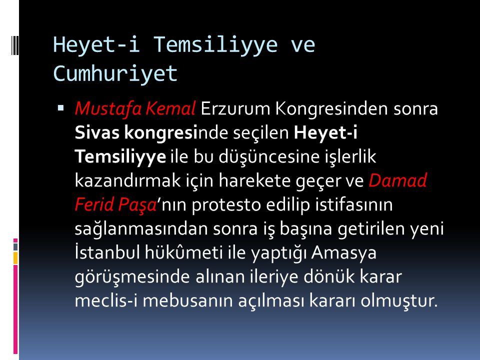Heyet-i Temsiliyye ve Cumhuriyet