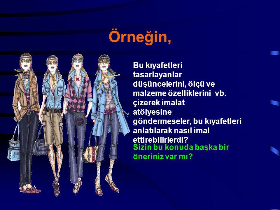 Örneğin, Bu kıyafetleri tasarlayanlar düşüncelerini, ölçü ve
