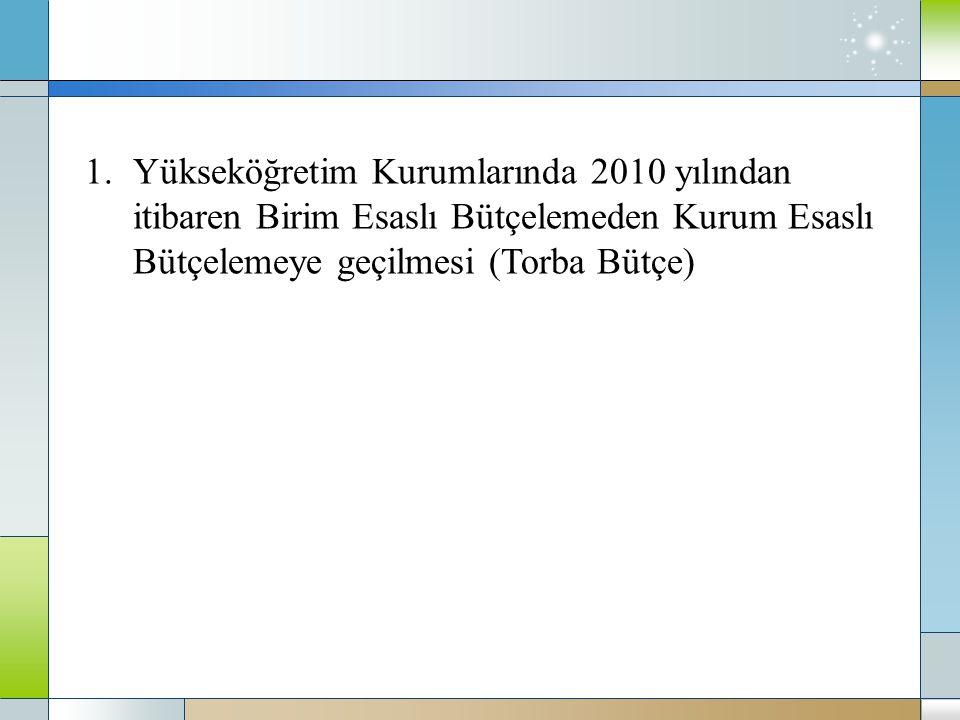 Yükseköğretim Kurumlarında 2010 yılından itibaren Birim Esaslı Bütçelemeden Kurum Esaslı Bütçelemeye geçilmesi (Torba Bütçe)