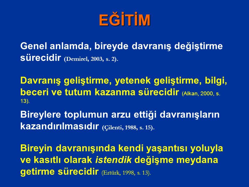 EĞİTİM Genel anlamda, bireyde davranış değiştirme sürecidir (Demirel, 2003, s. 2).