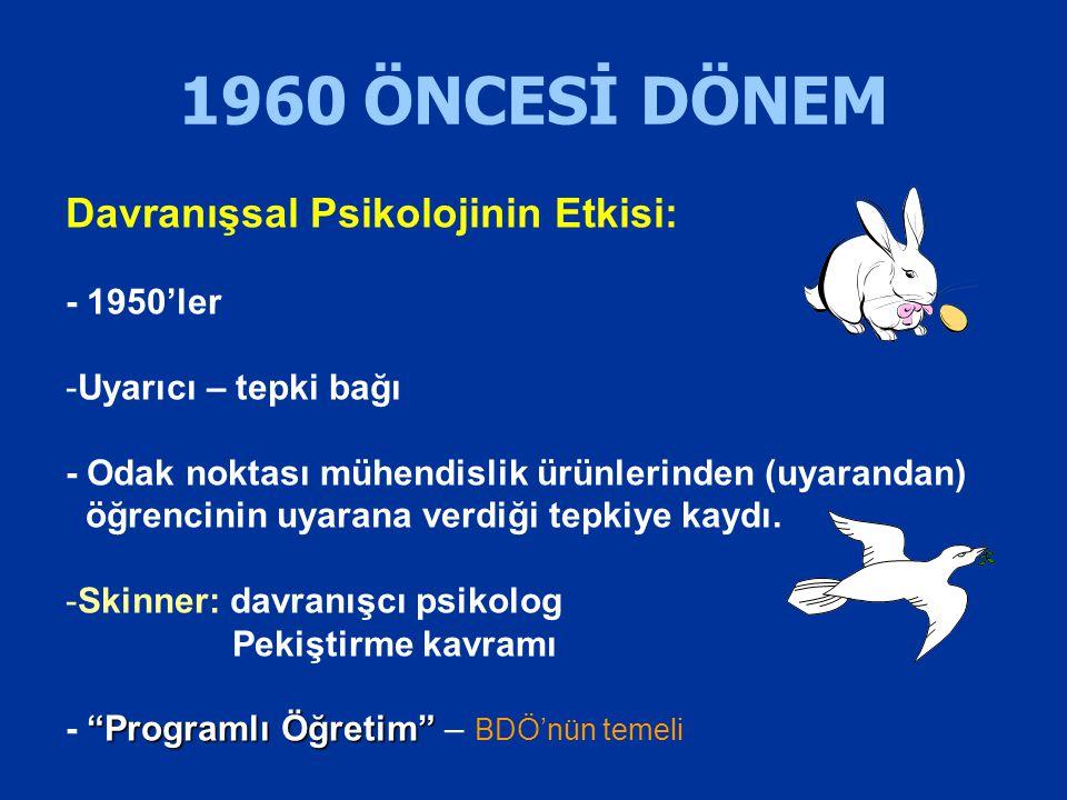 1960 ÖNCESİ DÖNEM Davranışsal Psikolojinin Etkisi: - 1950'ler