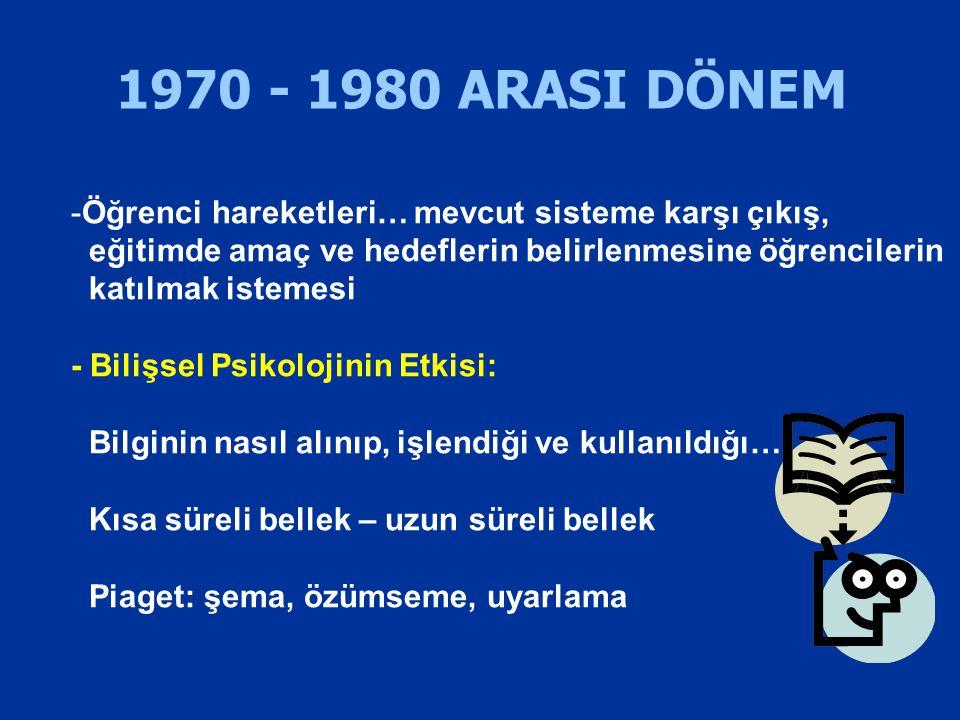 1970 - 1980 ARASI DÖNEM Öğrenci hareketleri… mevcut sisteme karşı çıkış, eğitimde amaç ve hedeflerin belirlenmesine öğrencilerin.