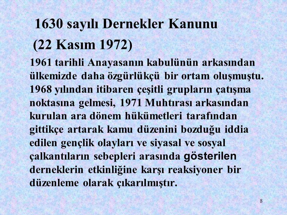 1630 sayılı Dernekler Kanunu