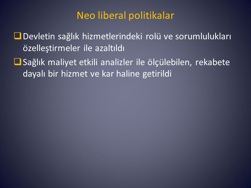 Neo liberal politikalar