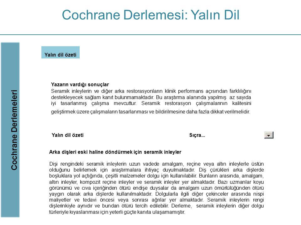 Cochrane Derlemesi: Yalın Dil
