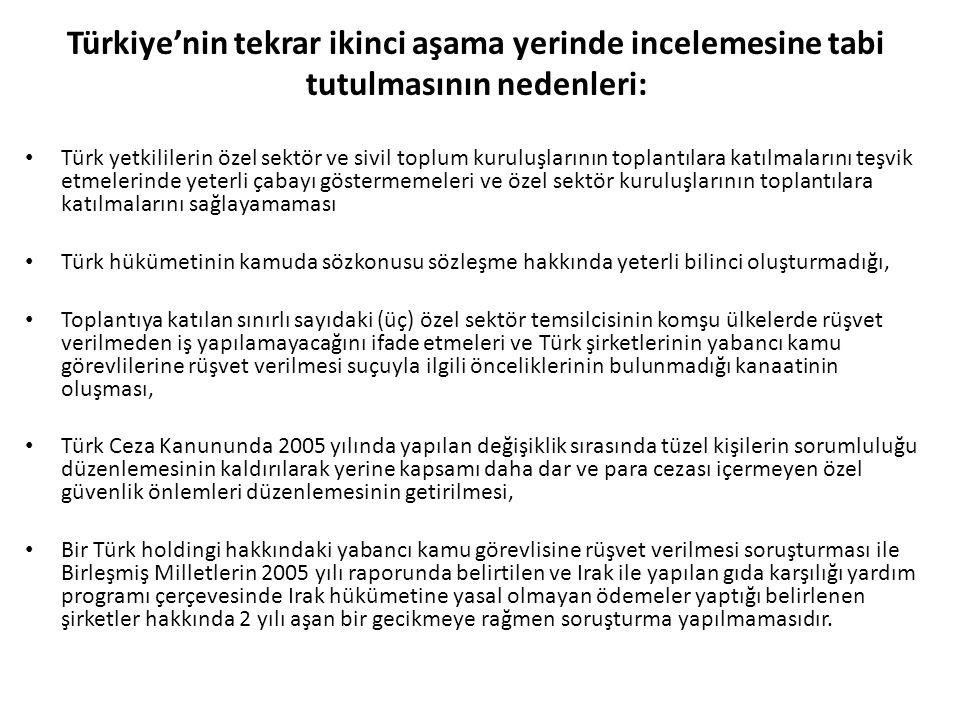 Türkiye'nin tekrar ikinci aşama yerinde incelemesine tabi tutulmasının nedenleri: